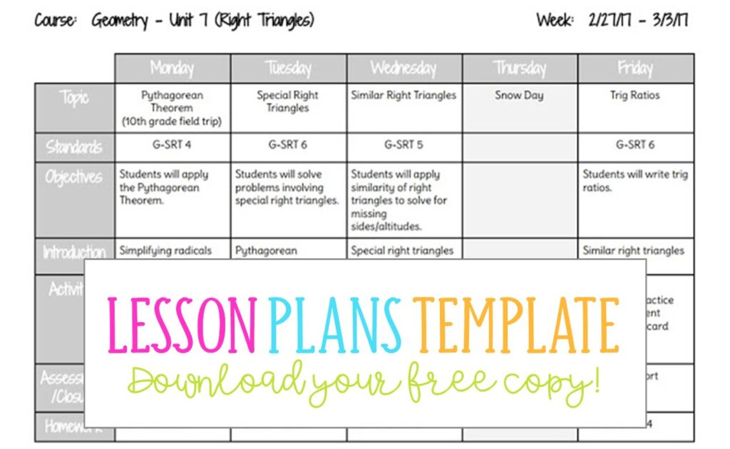 photograph regarding Printable Weekly Lesson Plan Templates identify Lesson Designs Template - Chaotic Miss out on Beebe