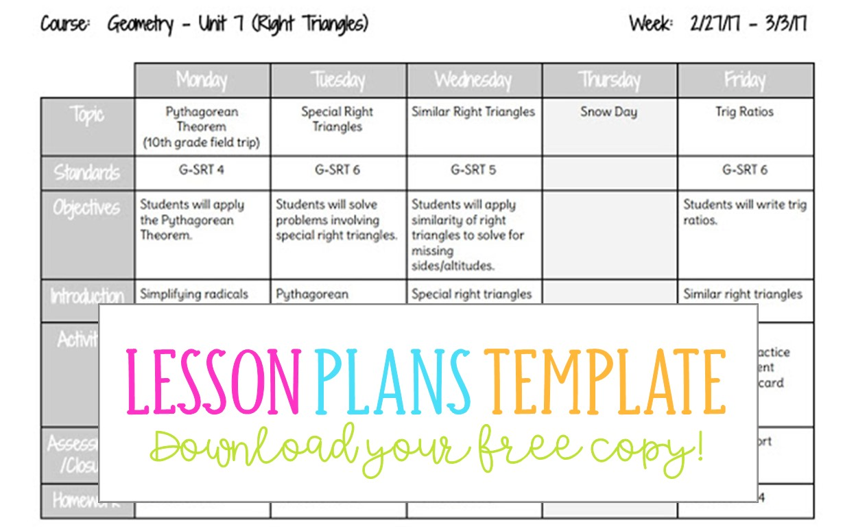 free lesson plan template google docs